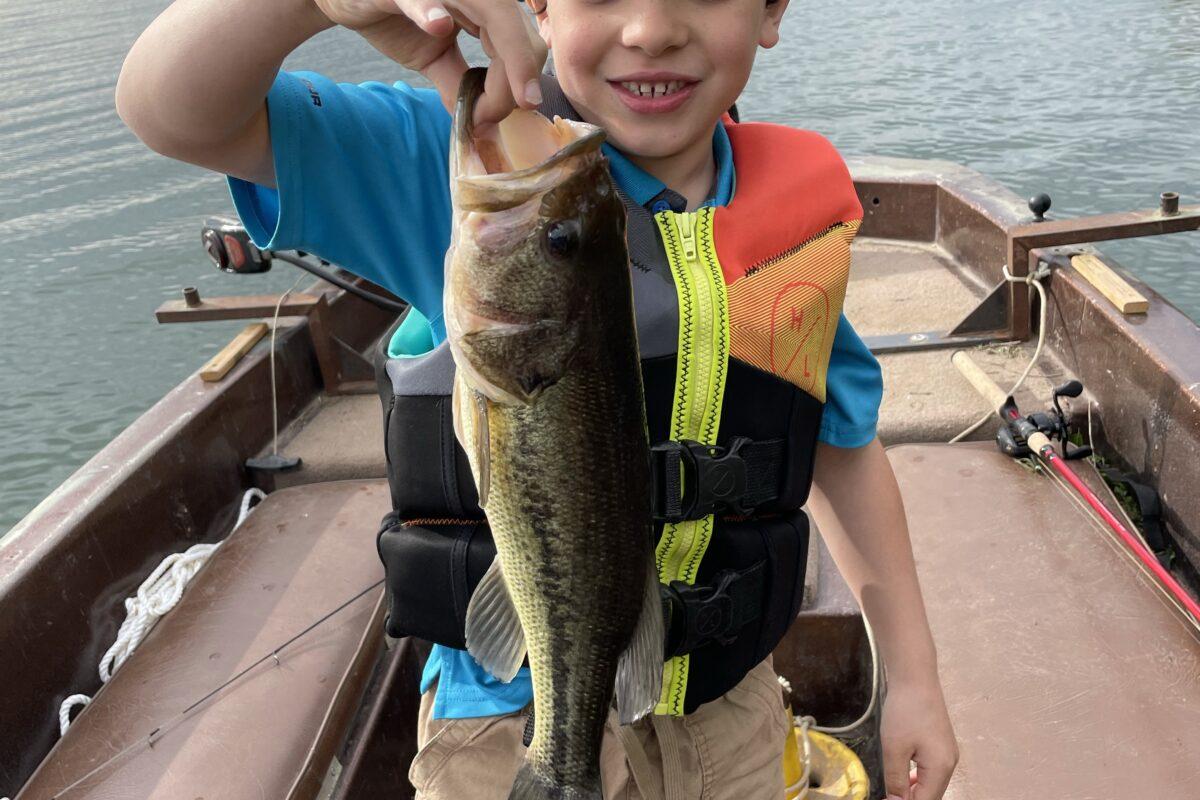 Sawyer holding a largemouth